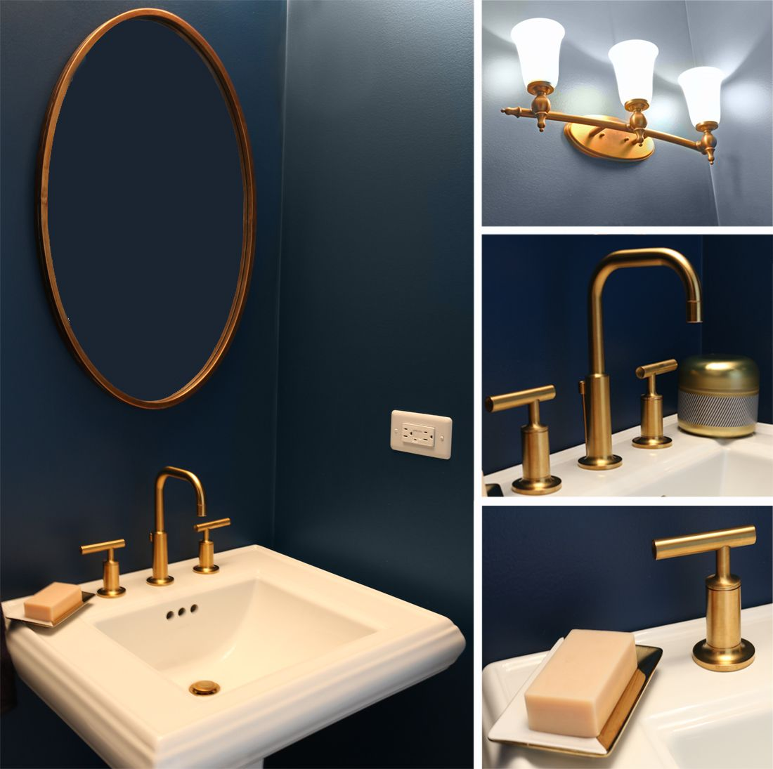 Navy blue and gold bathroom powder room pinterest for Dark blue bathroom decor
