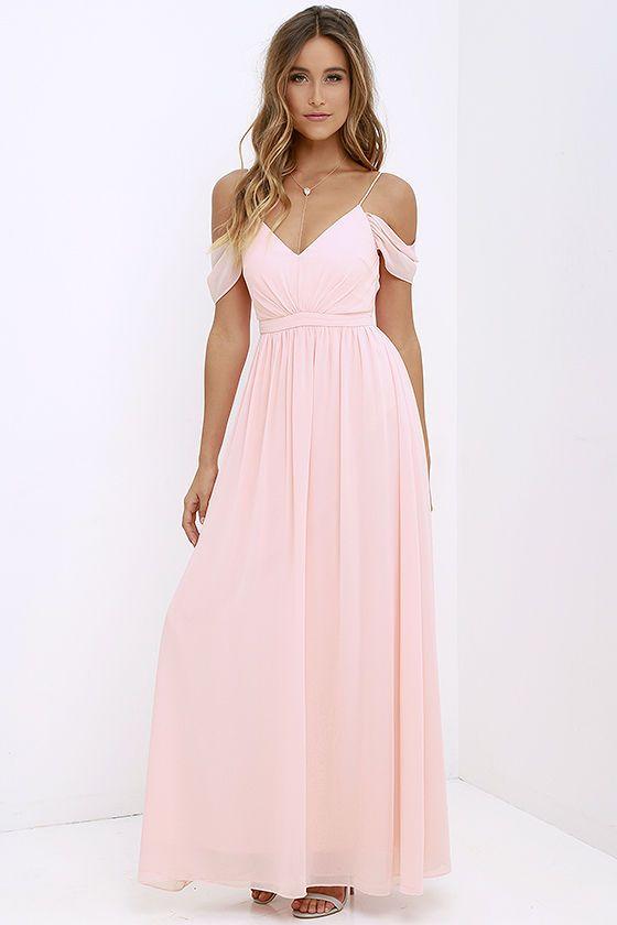 Pale pink chiffon maxi dresses
