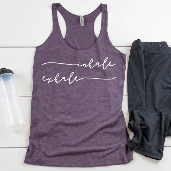 Inhale Exhale Yoga Racerback Tank | Cute Yoga Tank Top | Namaste Savasana Hatha Yoga Zen Shirt