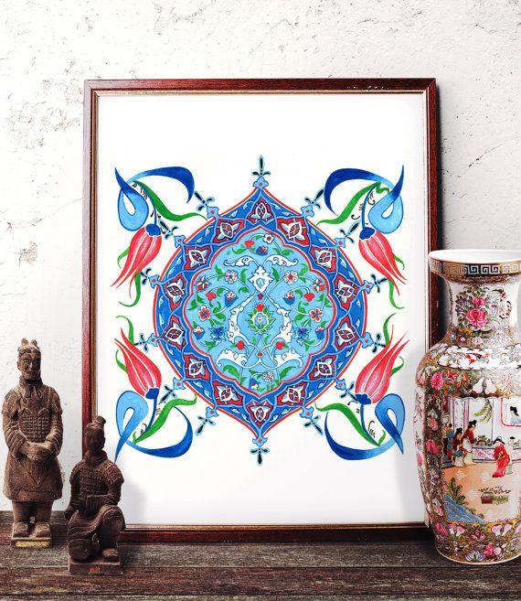 Traditional Turkish Ottoman Red Flower Home Decor Mosaic: Vintage Blue Flower Watercolor Art, Ottoman Floral Motif