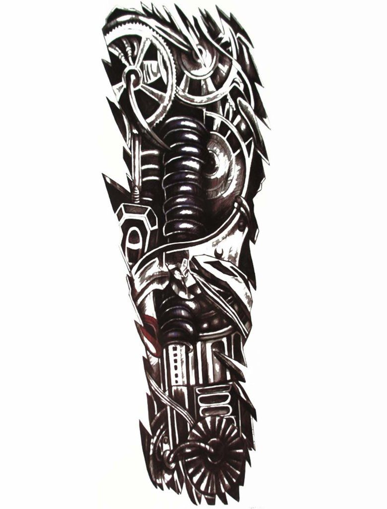 Tattoo gear tattoo sleeve mechanic tattoo mechanical tattoo gears - Chip Robot Full Sleeve Temporary Tattoo