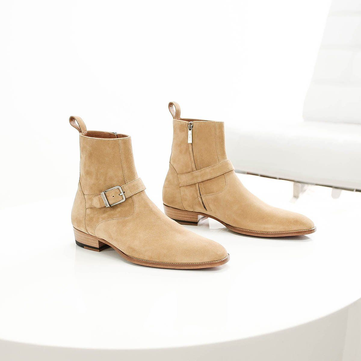 NEW HANDMADE THE MADRID STRAP BOOTS MENS STYLE