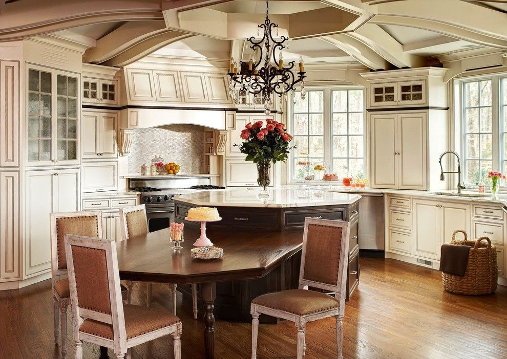 Octagon Dining Table Kitchen Traditional With Beige Cabinets Range
