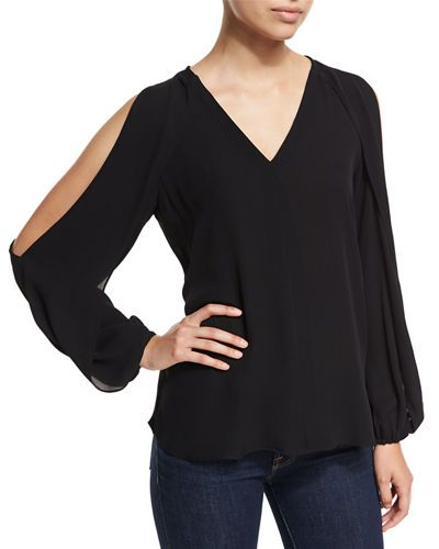 f7cae4b7d397 KOBI HALPERIN Caroline V-Neck Split-Sleeve Cold-Shoulder Blouse, Black.  #kobihalperin #cloth #