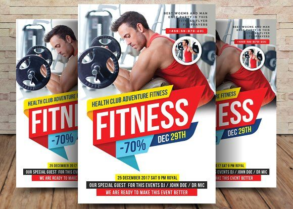 Fitness Flyer by Party Flyers on @creativemarket Awesome Flyer