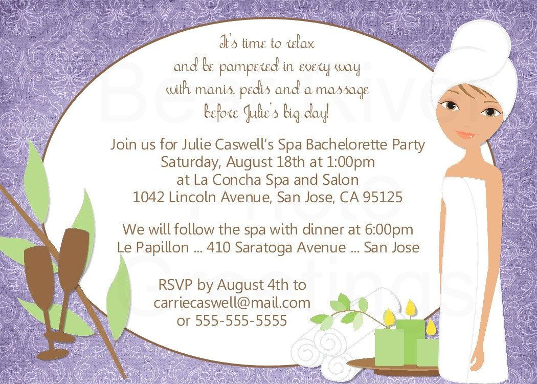 Spa Party Invitation Bridal Shower Baby Shower By Photogreetings 15 00 Spa Bachelorette Parties Bachelorette Party Invites Wording Spa Party Invitations