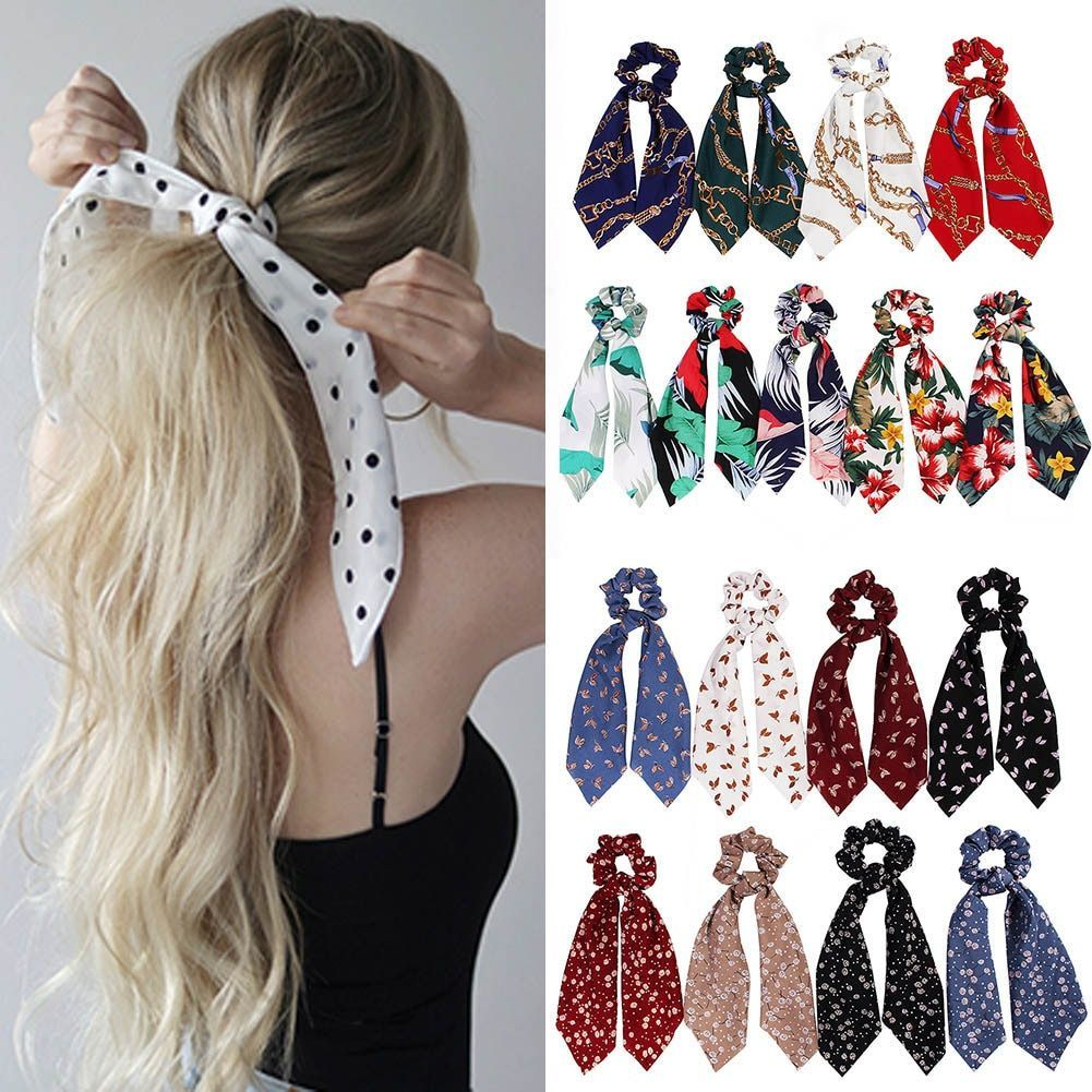 Fashion Summer Ponytail Scarf Elastic Hair Rope For Women Hair Bow Ties Scrunchies In 2020 Summer Ponytail Girls Hair Accessories Scarf Hairstyles
