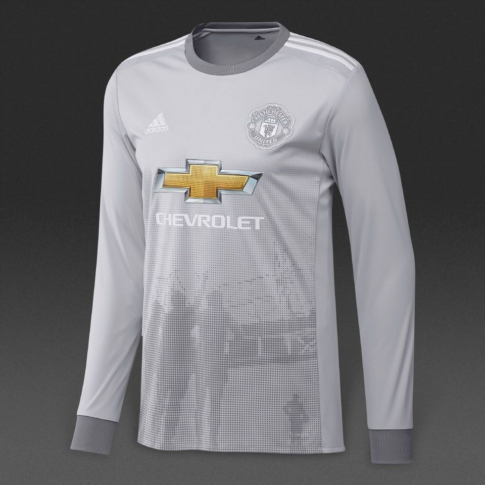 adidas Manchester United 17 18 3rd LS Jersey - Lgh Solid Grey White Grey 52794ef35