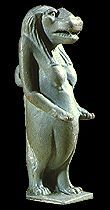 This is an amulet of the goddess Tawaret. People often wore amulets like this, or kept them in their homes.