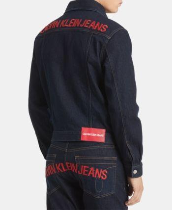 fd82a8799 Calvin Klein Jeans Men's Foundation Trucker Jacket - Orange L ...