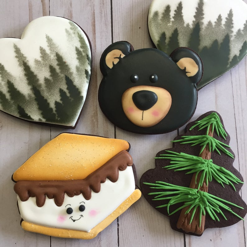 Black bear and nature loving sugar cookies, sold by the dozen