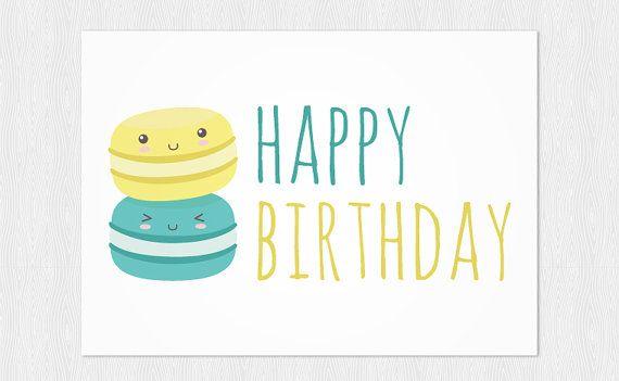 Happy Birthdays Card PDF DIY Kawaii Macarons By Cloudreams