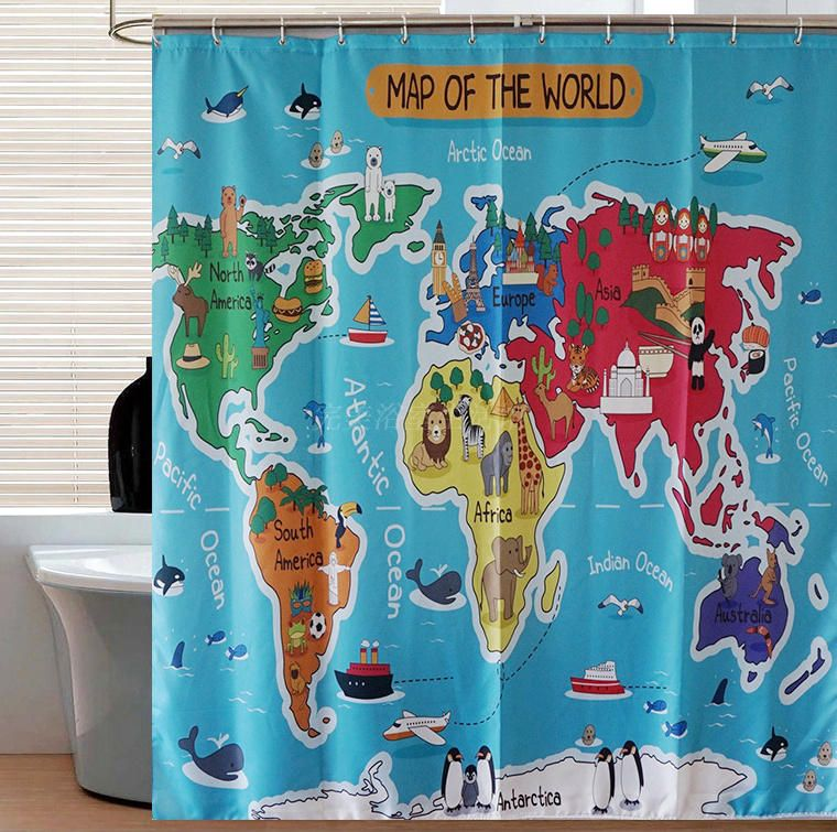 Cartoon animal world map curtains hd digital printing polyester cartoon animal world map curtains hd digital printing polyester waterproof shower curtain creative gift for kids gumiabroncs Gallery