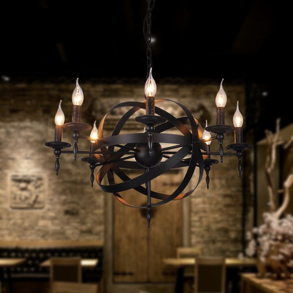 Vintage Industrial Spherical Chandelier With 8 Lights Lamps Zone