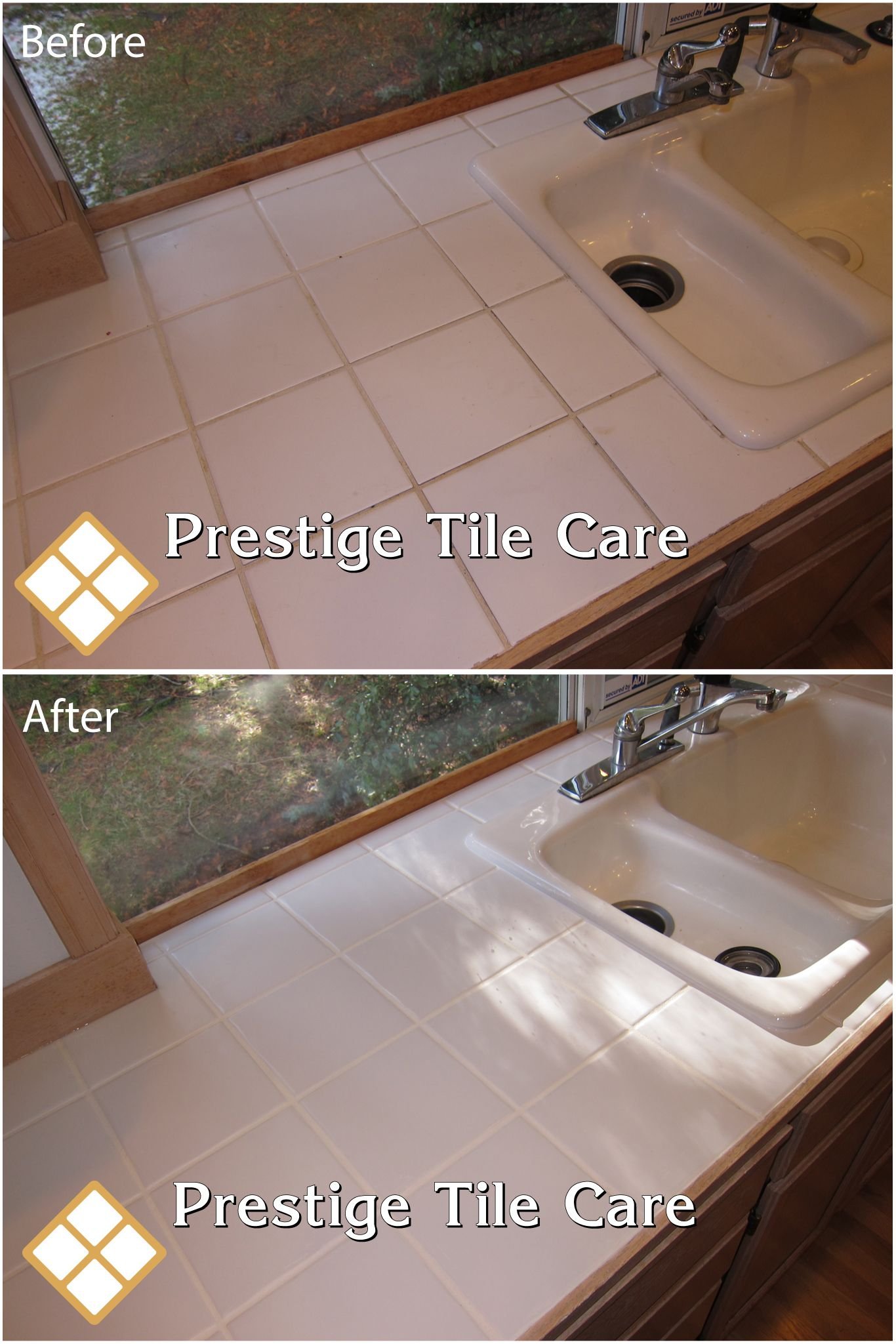 Cleaning Tile Countertop Recaulking And Colorsealing Grout With