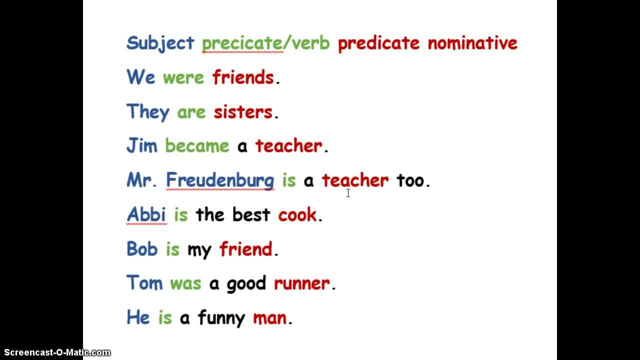 Predicate Nominatives | 6th grade English | 6th grade english ...