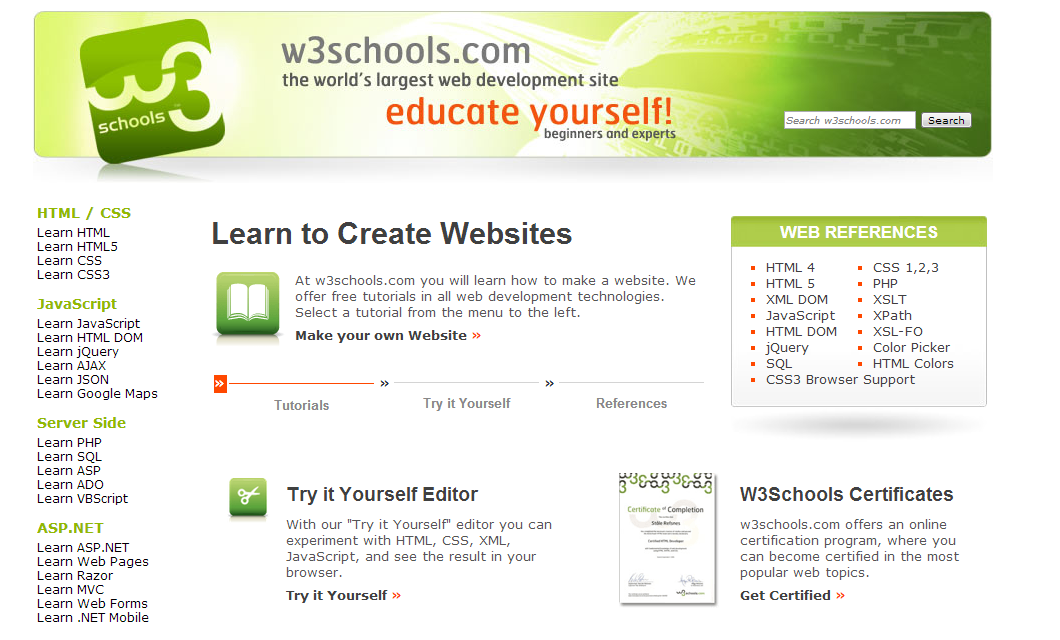 W3schools Offer Free Online Courses Where You Can Learn About Web Development A Skill That Is Always In Demand The Site Offers Opportunitie Web Design Training