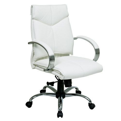 299 Walmart Office Star Products Deluxe Mid Back Executive Leather Office Chair With Arm White Leather Chair White Leather Office Chair Leather Office Chair