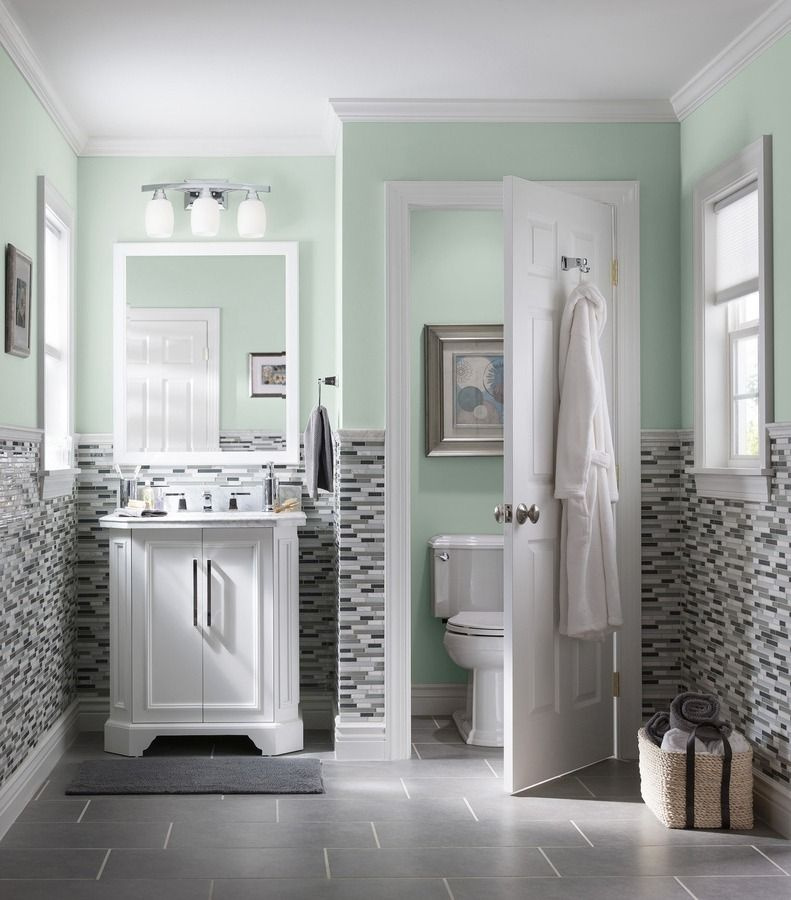 captivating what color paint grey tiles bathroom | Design a bathroom that makes a splash. Mosaic wall tile ...