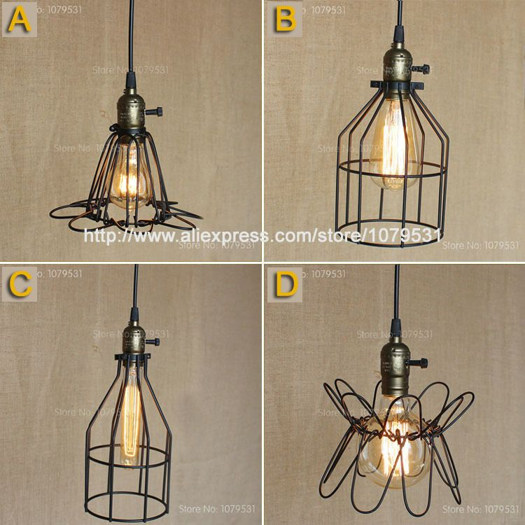 Loft Vintage Indoor Cage Pendant Lights With Switch Northern Europe ...