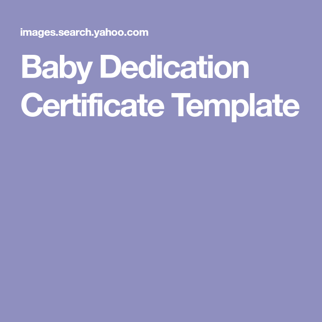 Baby Dedication Certificate Template  Baby Blessing