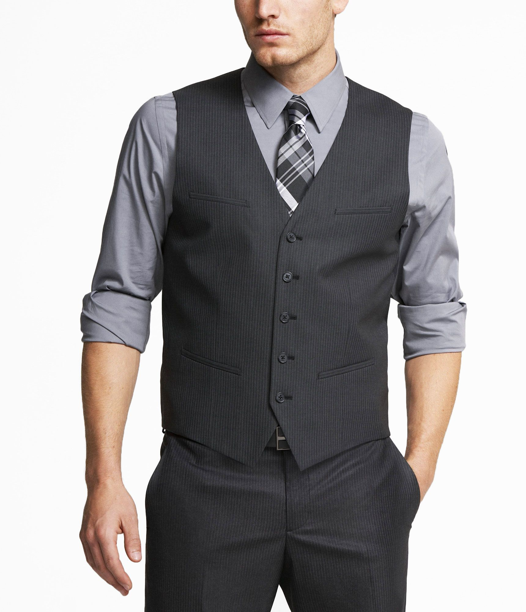 One of my earlier dress-up purchases—this charcoal pinstripe vest+ ...