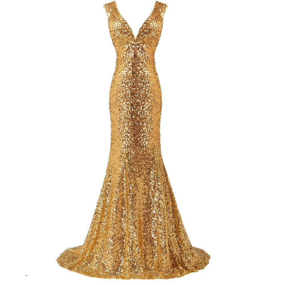 Luxury long gold evening sequin mermaid evening dress gown with deep
