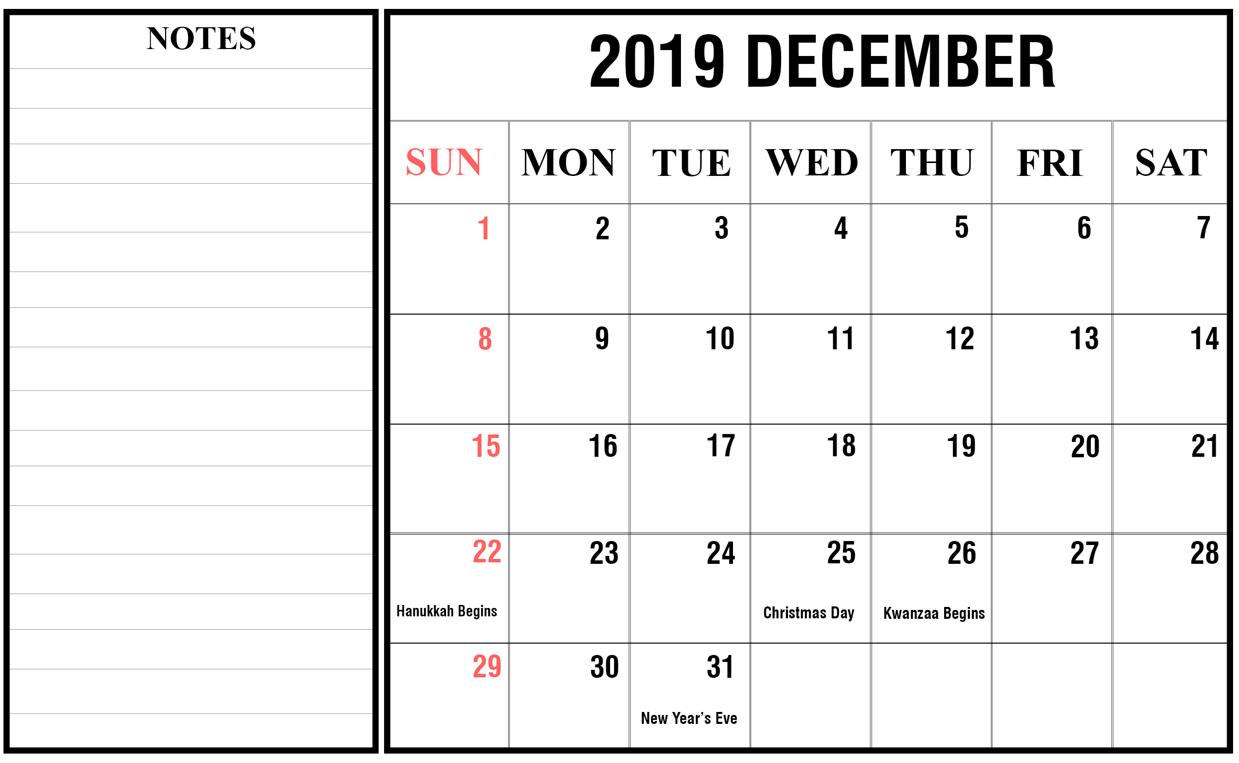 2019 December Landscape Calendar Holiday Calendar Printable December Calendar Calendar Template