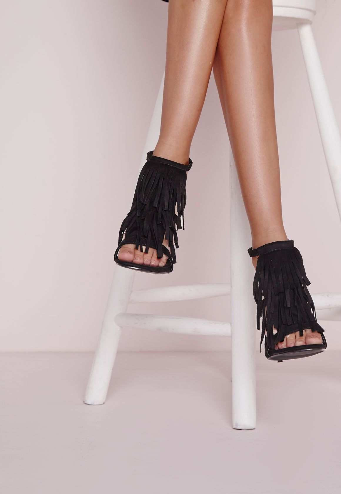 f77ca95f451 Missguided - Tassel Front Barely There Heeled Sandals Black ...