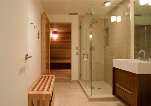 Sauna design construction saunas basements and sauna for Bathroom with sauna plans