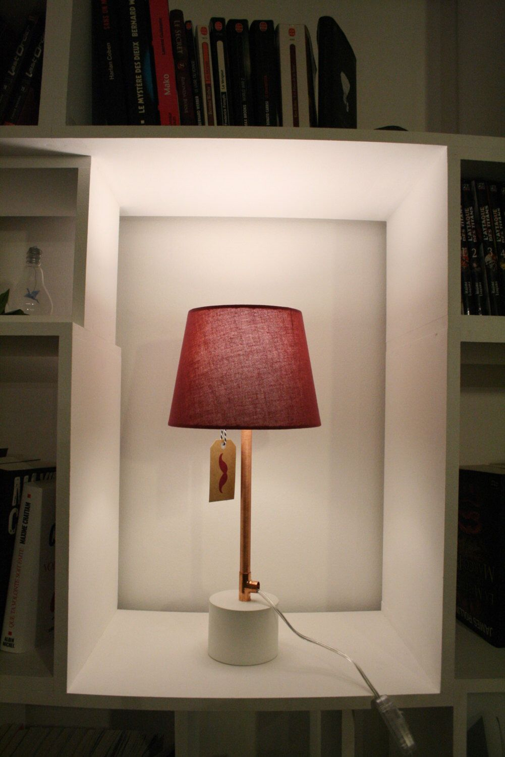 Table lamp bedside copper and concrete