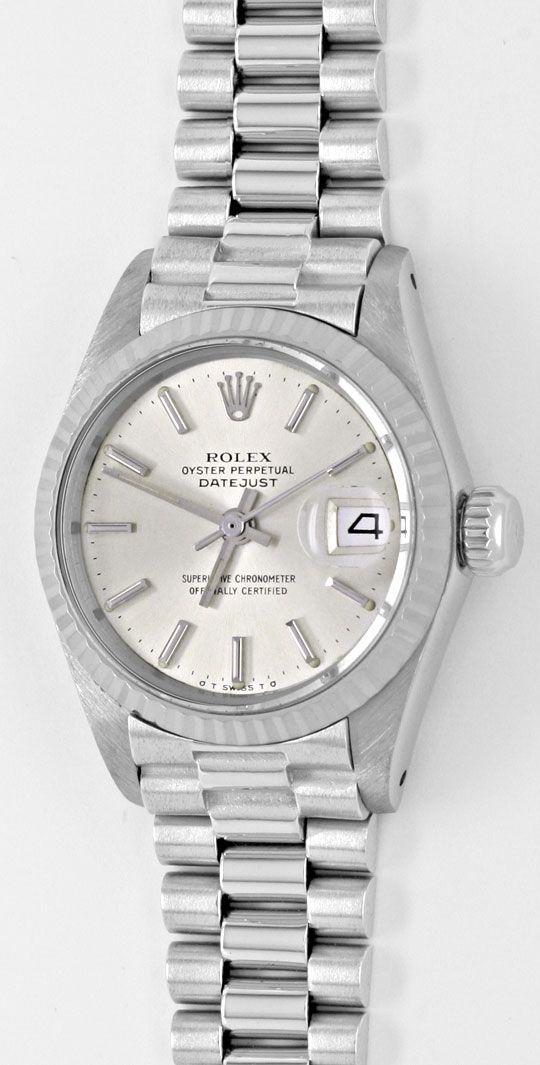 Armbanduhr rolex  Rolex Datejust Damen-Armbanduhr Weissgold Geprüft Neuz., U1941 ...