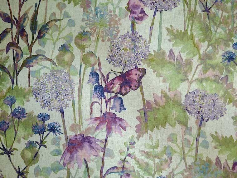 Lilac purple floral linen curtain fabric | design inspiration ...