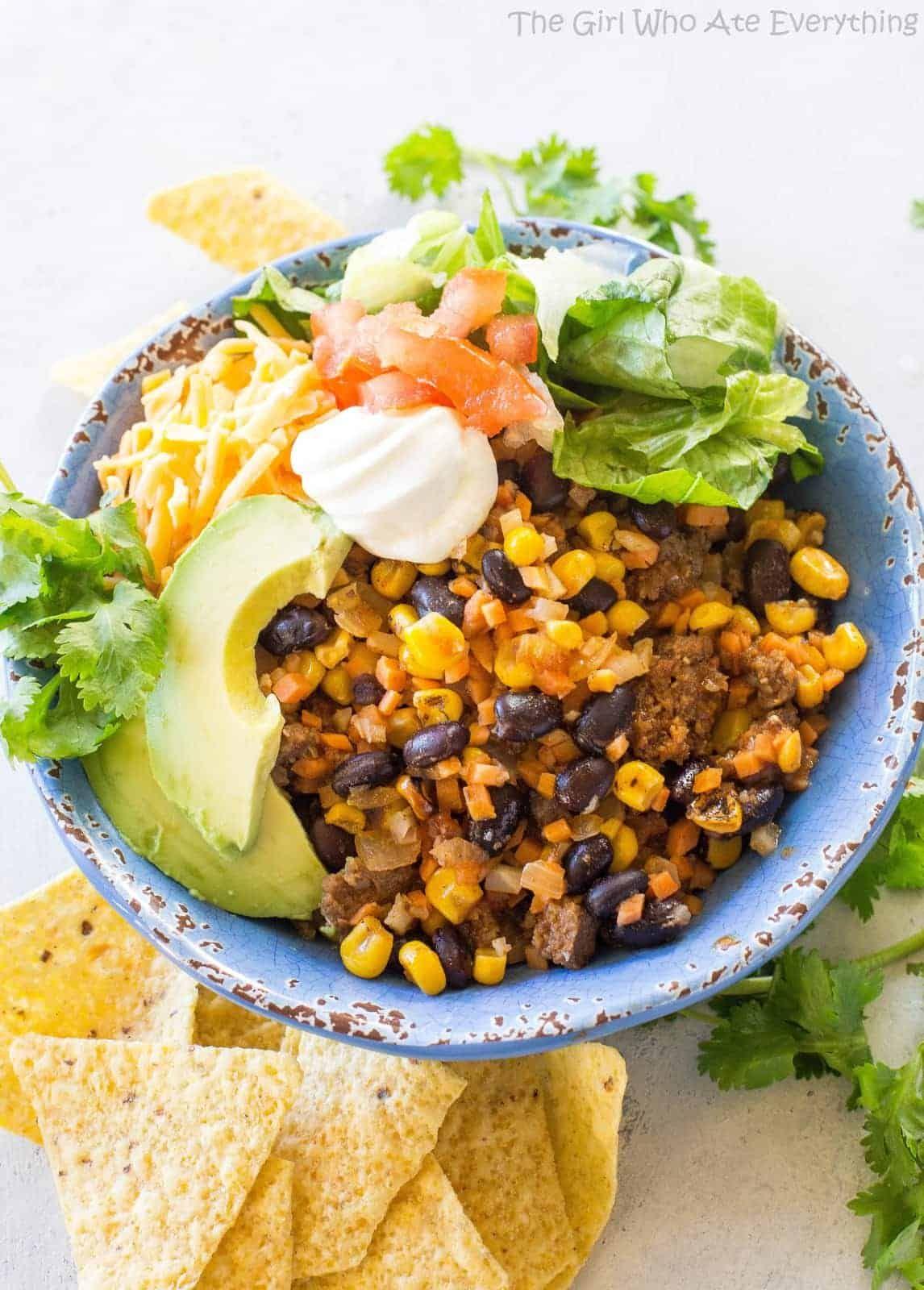 Riced Cauliflower and Sweet Potato Beef Burrito Bowls #ricedcauliflower