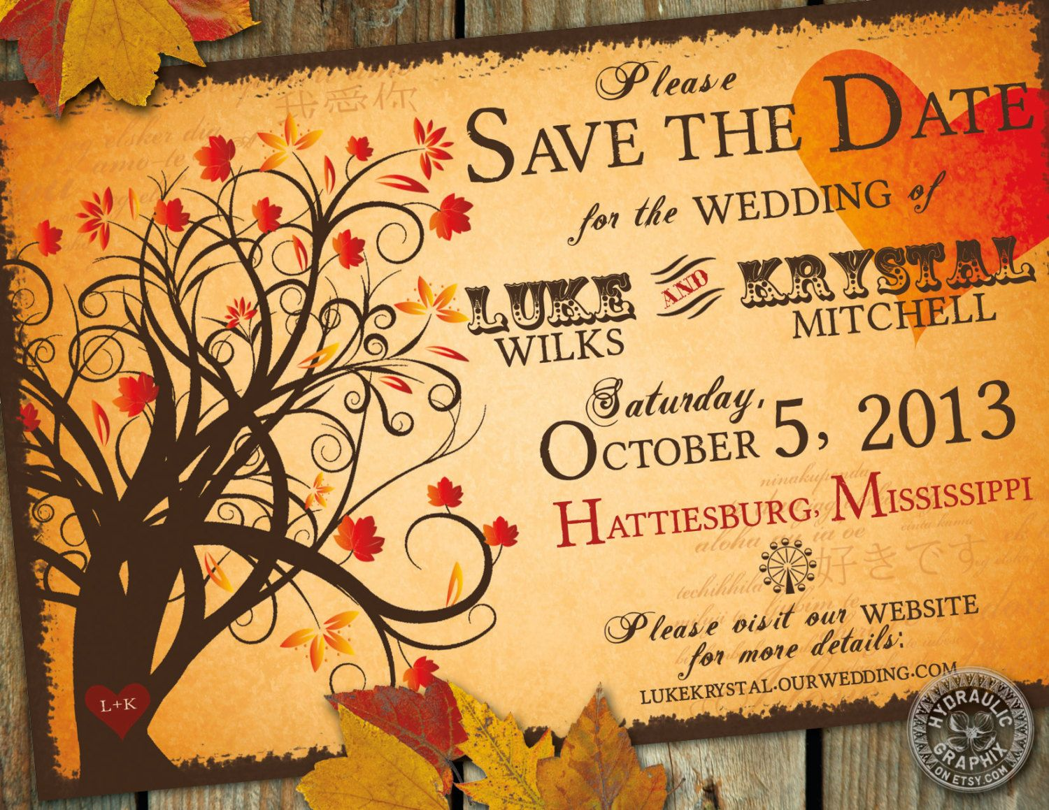 Fall Wedding Invitation Wording: Fall Save The Date Wedding Invitation With By