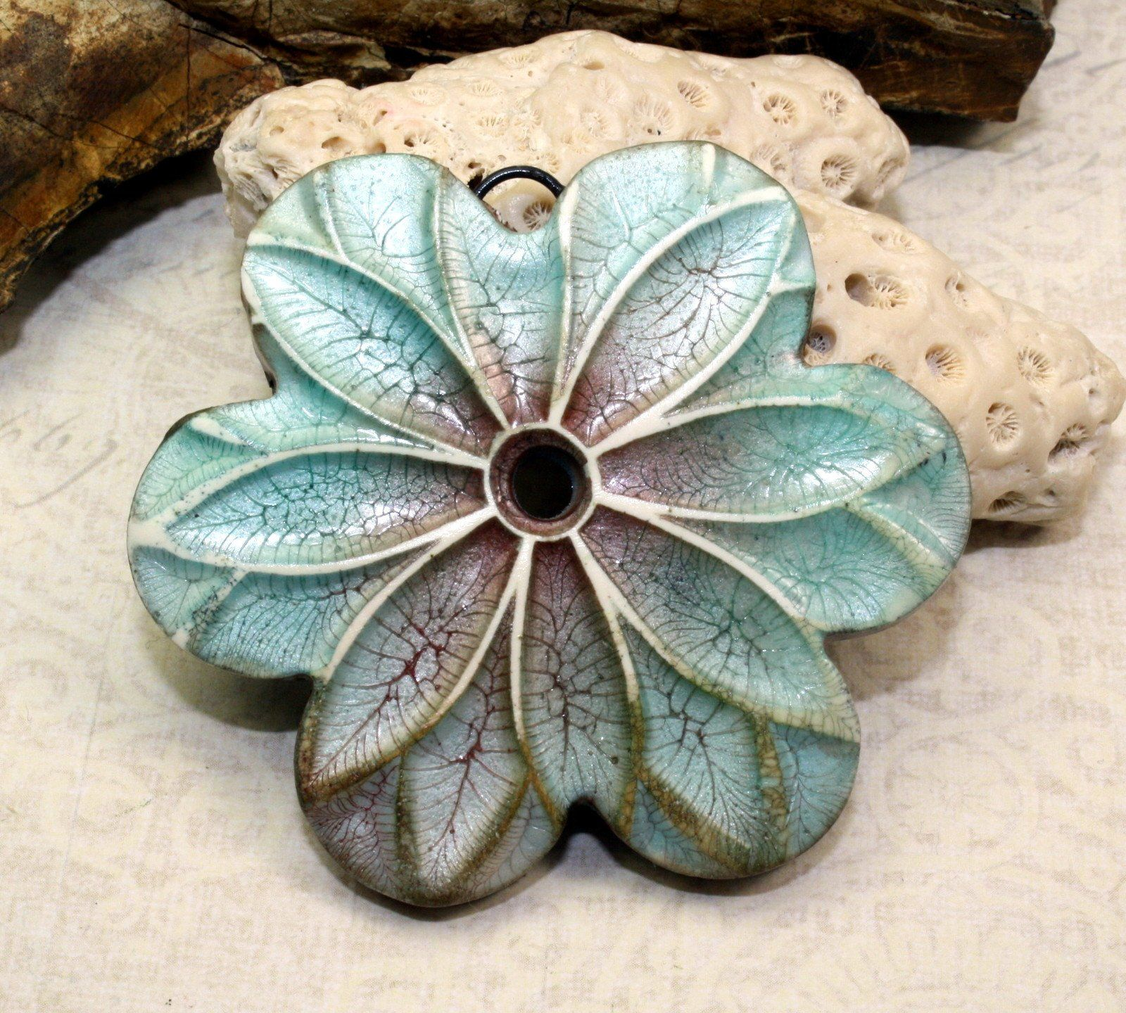 Gear pendant grungy faux ceramic large pendant boho Polymer Clay Ceramic pendant jewelry design component aged worn rustic chic