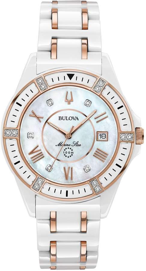 e1cda12dad23 Bulova Women s Ceramic Rosetone Marine Star Diamond Watch
