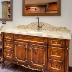Traditional Bathroom Vanity With Gold Leaf Guilding By Elmwood Fine Custom  Cabinetry