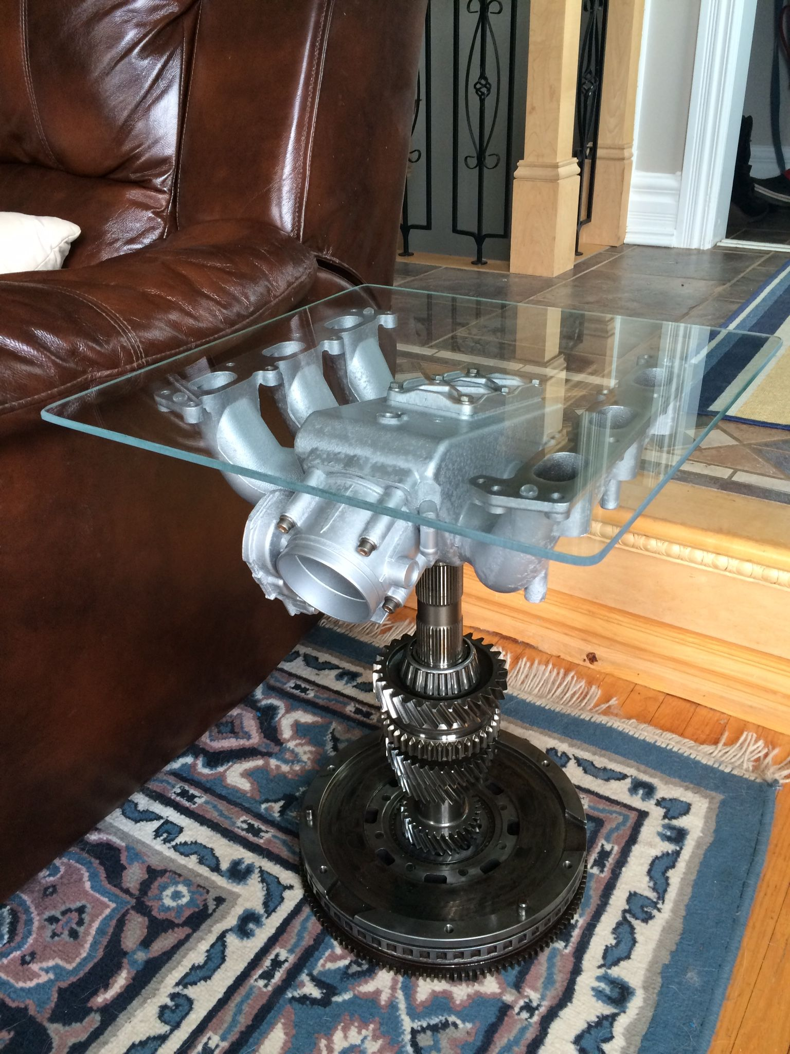 Side table made from audi A6 reclaim transmission parts and intake