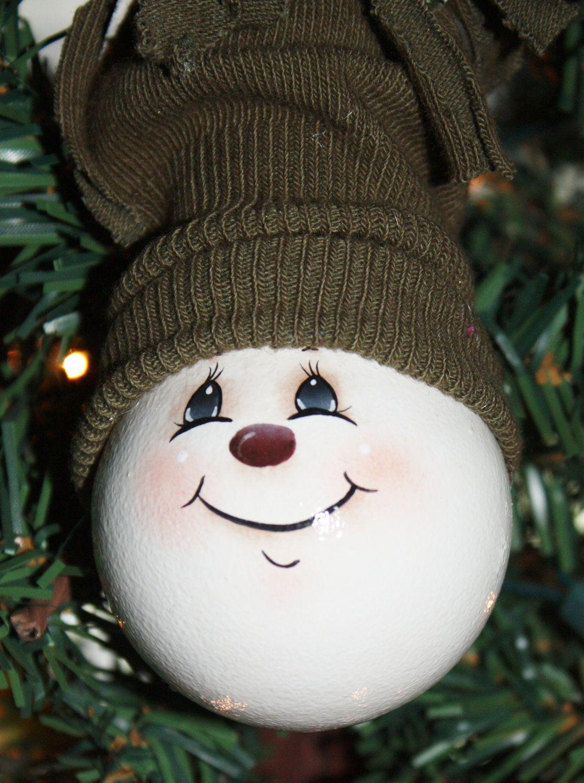 Ooak Hand Painted Snowman Light Bulb Ornament Etsy Christmas Ornament Crafts Painted Christmas Ornaments Christmas Crafts
