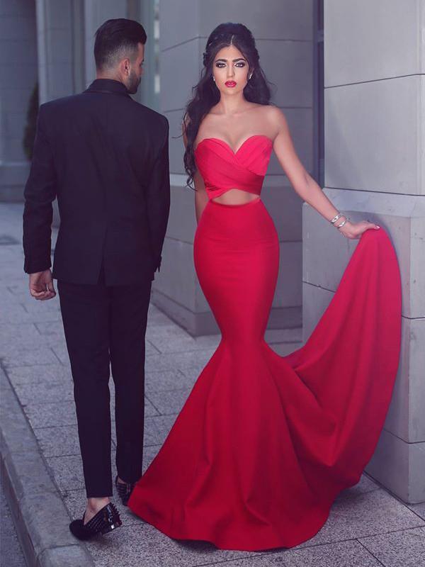 dress Red mermaid prom
