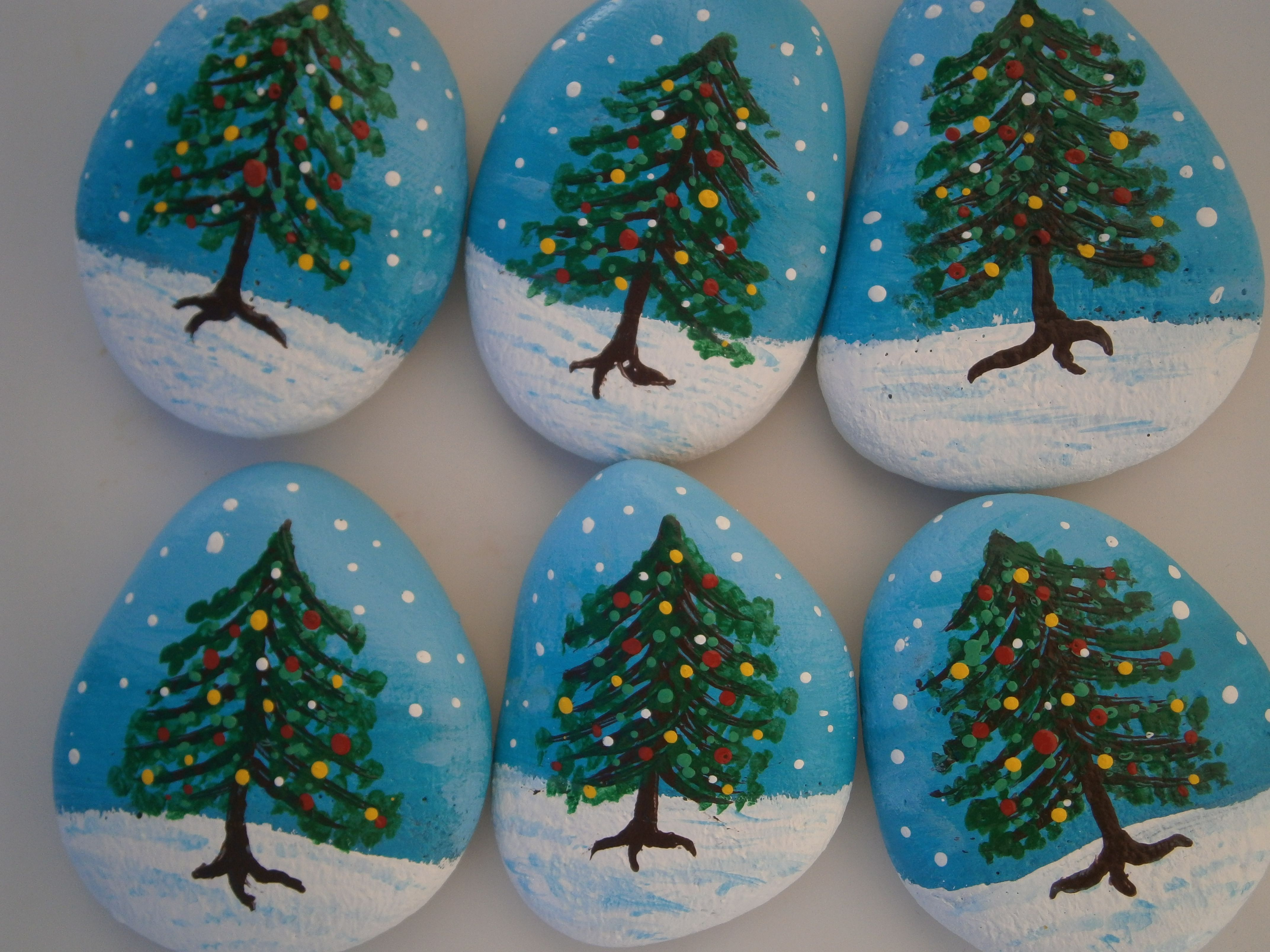 Christmas Trees Painted Rocks At Www Placeforyou Etsy Com Christmas Rock Christmas Paintings Christmas Tree Painting