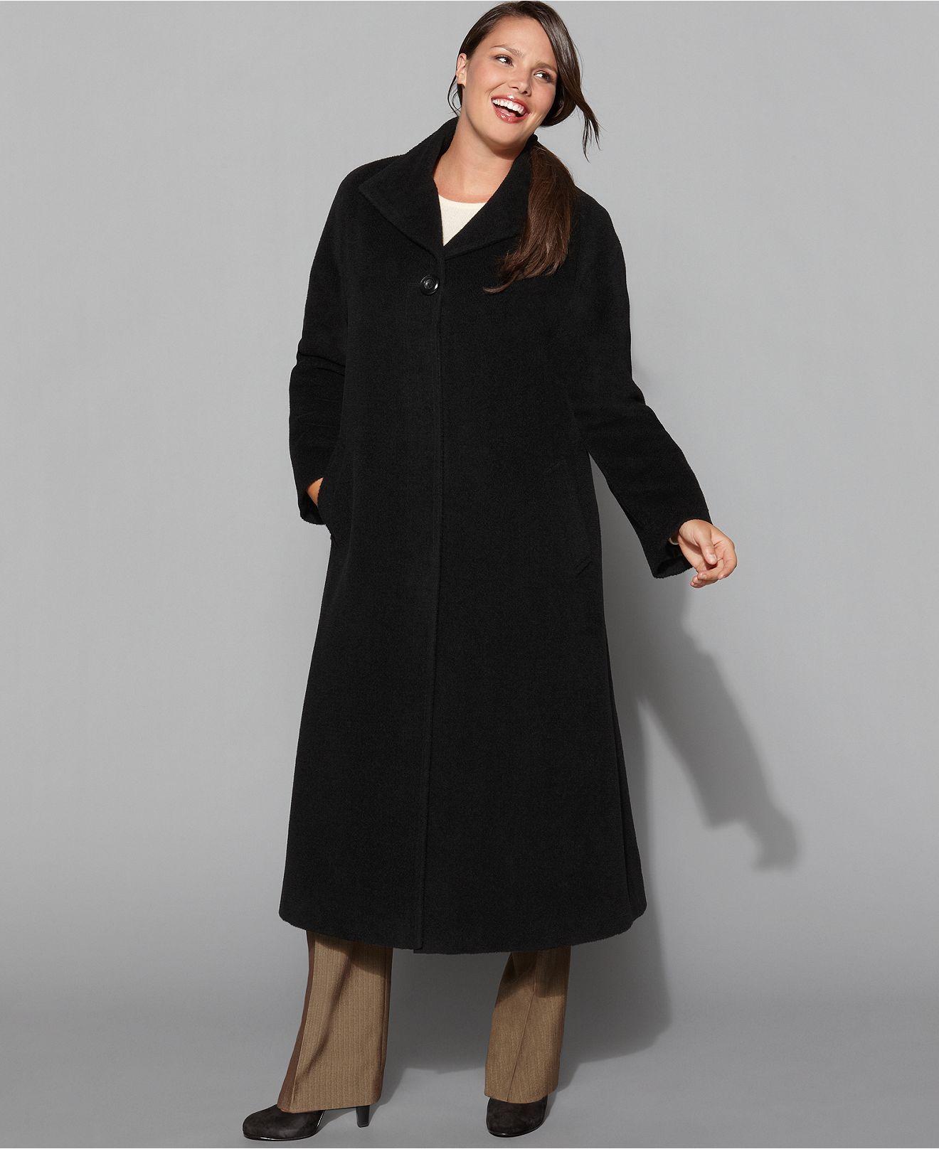 jones new york plus size coat, wool-blend maxi - plus size coats