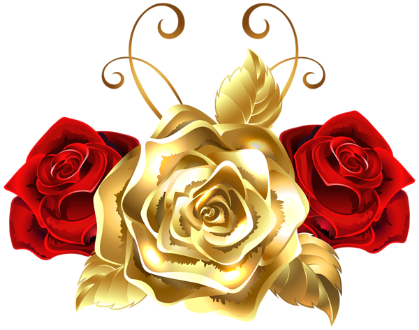 Gold and Red Roses PNG Clip Art Image Rosas são