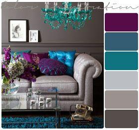 بيتي مملكتي اللون التركواز و الرمادي في الديكور Living Room Color Schemes Purple Living Room Living Room Turquoise
