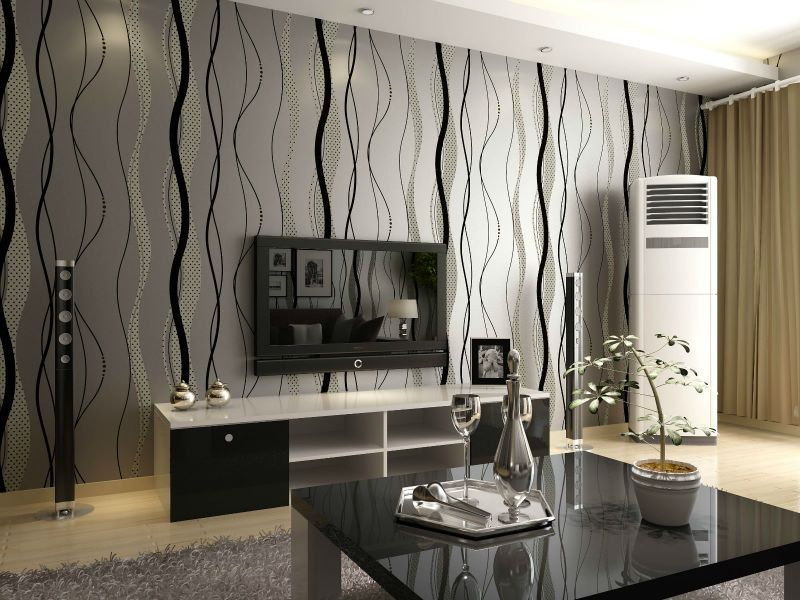 Dark Grey Living Room Walls With Black Stripes Google Search