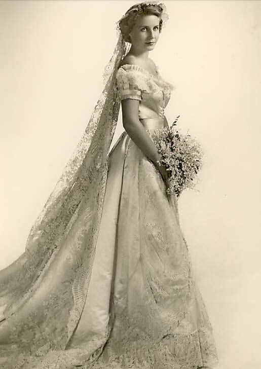 1950\'s model wearing a gown from 1866 http://www.pinterest.com ...