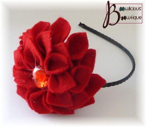 Red felt flower headband! Lovely!
