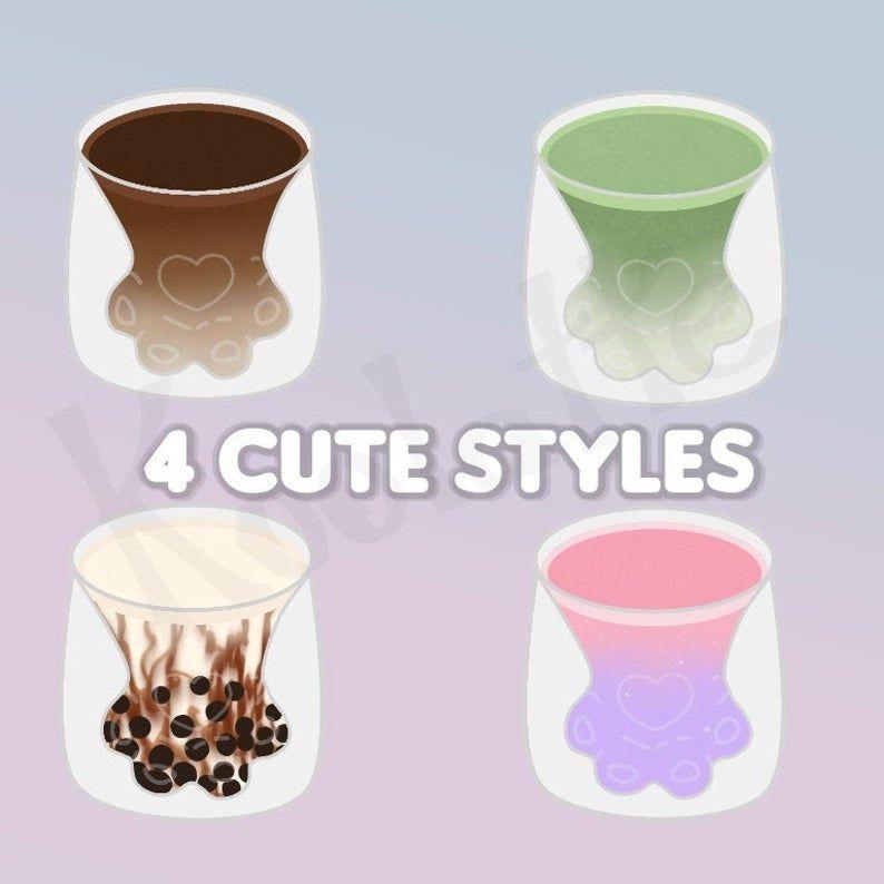 Cute Paw Cup Design Png File 4 Different Drinks Magic Drink Etsy Bubble Milk Tea Green Tea Latte Tea Latte