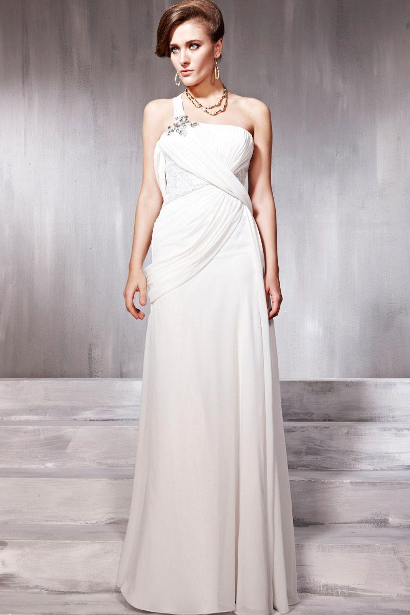 New fashional white cocktail prom chiffon one shoulder draped long